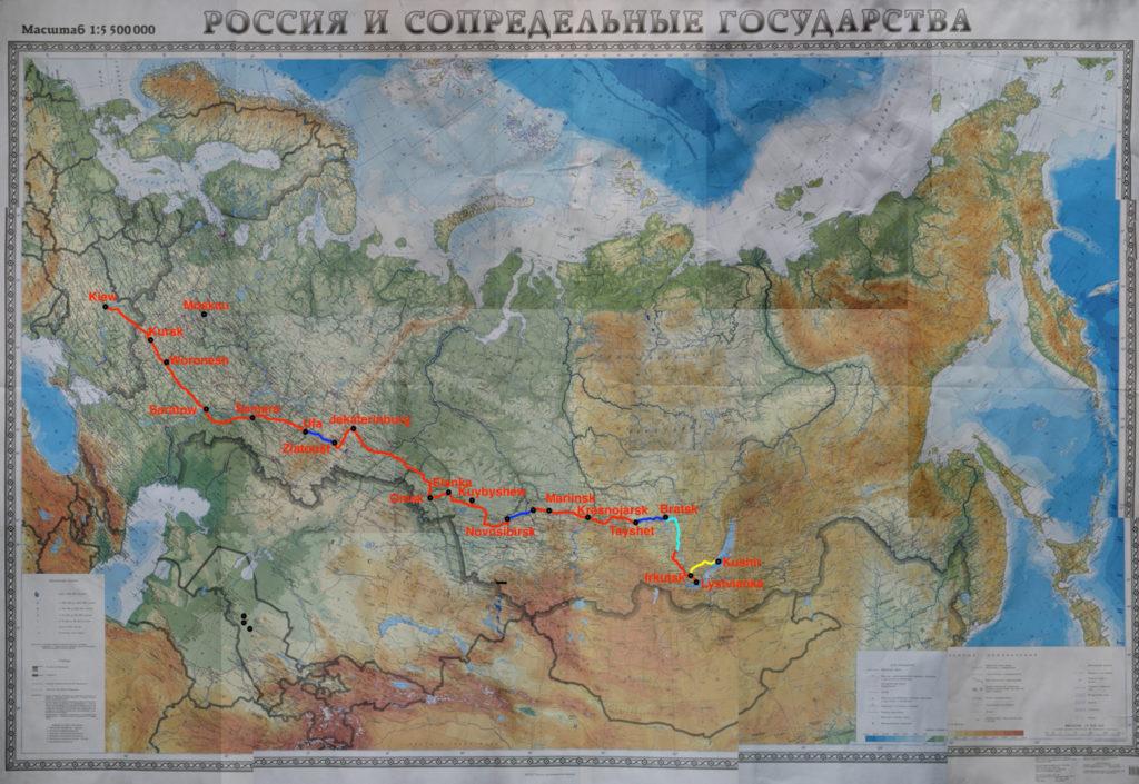 Sibirien, Karte, Fahrrad
